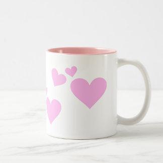 Pink Pastel Hearts Two-Tone Coffee Mug
