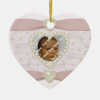 Pink Pastel Lace Pearl Baby Photo Ornament