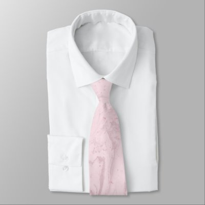 Pink pastel marble abstract art  neck tie