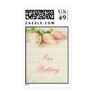 Pink Pastel Roses Our Wedding Postage