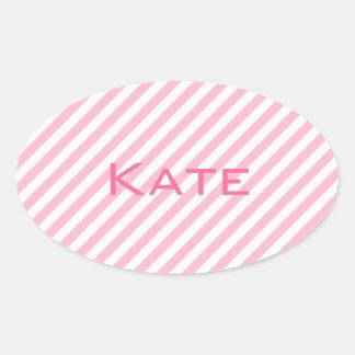 Pink pastel stripes on white oval sticker