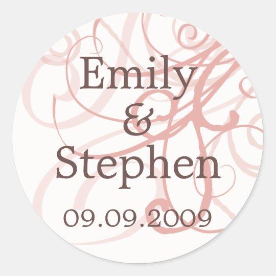 Pink Pastel Swirls • Save the Date Sticker