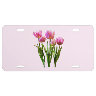 Pink Pastel Tulips License Plate