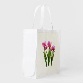 Pink Pastel Tulips Market Totes