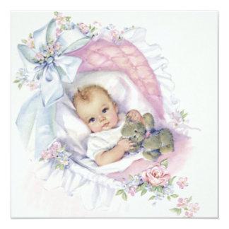 Pink Pastel Vintage Baby Girl Shower Invitation