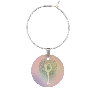 Pink Pastel Yoga Tree Wine Glass Charm