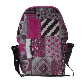 Pink Patch work quilt messenger bag purse