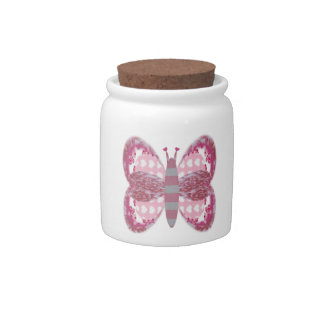 Pink Patchwork Butterfly Candy Sugar Jar Candy Jars