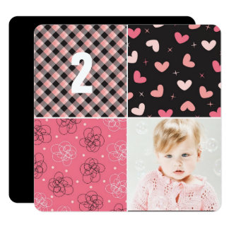 Pink Patchwork Pattern Squares Girl Photo Birthday Card
