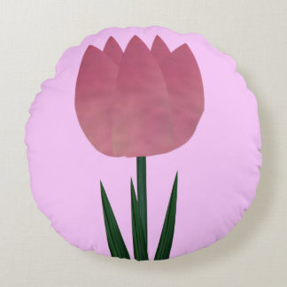 Pink Patchwork Tulip Round Throw Pillow