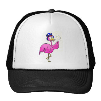 Pink Patriotic Flamingo Hat Sparkler