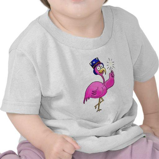 Pink Patriotic Flamingo Hat Sparkler Tee Shirts