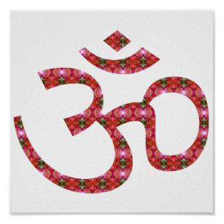 Pink Patterened Om or Aum ॐ.png Poster