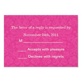 "Pink Pattern Background RSVP Cards Invites 3.5"" X 5"" Invitation Card"