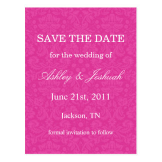 Pink Pattern Background Save The Date Post Cards