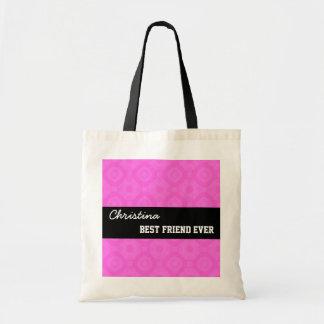 Pink Pattern Best Friend Ever Custom Name V017 Budget Tote Bag