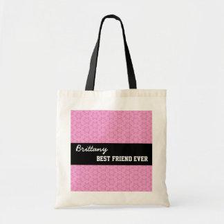 Pink Pattern Best Friend Ever Custom Name V020 Budget Tote Bag