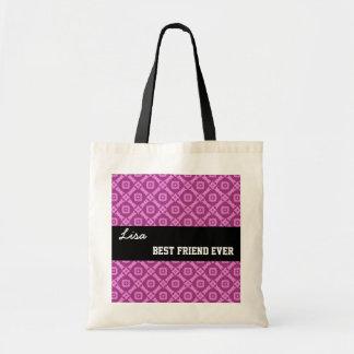 Pink Pattern Best Friend Ever Custom Name V030 Budget Tote Bag