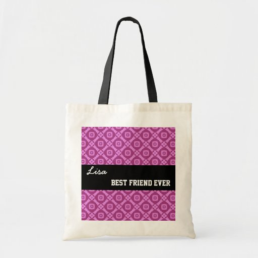 Pink Pattern Best Friend Ever Custom Name V030 Tote Bag