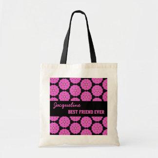 Pink Pattern Best Friend Ever Custom Name V088 Budget Tote Bag