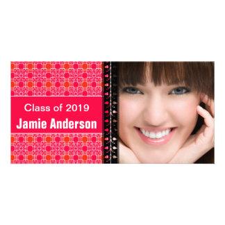 Pink Pattern Modern Graduation Photo Card