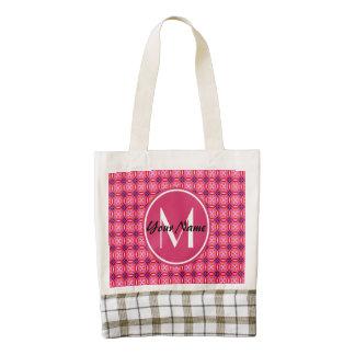 Pink Pattern Monogram Zazzle HEART Tote, Leather Zazzle HEART Tote Bag