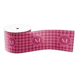 "Pink Pattern Monogrammed 3"" Wide Grosgrain Ribbon"