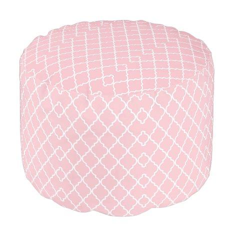 Pink Pattern Ottoman Pouf