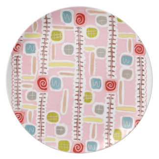 pink pattern party plates