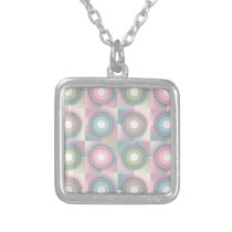 pink pattern silver plated necklace