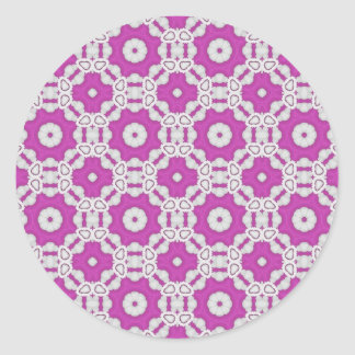 Pink pattern tile round stickers