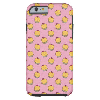 Pink pattern with cute cupcakes and hearts tough iPhone 6 case
