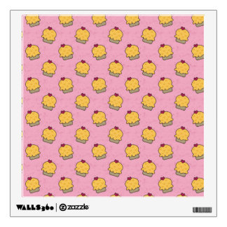 Pink pattern with cute cupcakes and hearts wall graphic