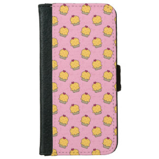 Pink pattern with cute cupcakes and hearts wallet phone case for iPhone 6/6s