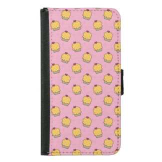 Pink pattern with cute cupcakes and hearts wallet phone case for samsung galaxy s5