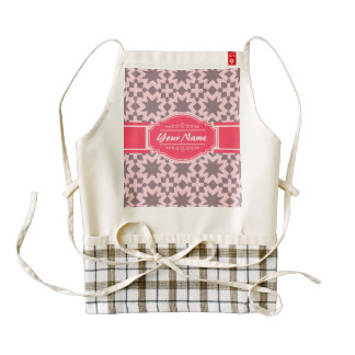 Pink Pattern with Personalized Name Zazzle HEART Apron