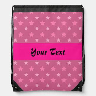 Pink pattern with stars drawstring bag