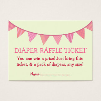 Pink Patterned Flags Diaper Raffle Ticket for Girl