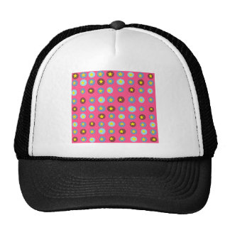 Pink Patterned Mesh Hats