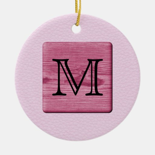 Pink Patterned Image, with Custom Monogram Letter Christmas Tree Ornaments