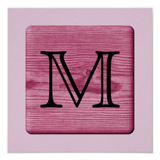 Pink Patterned Image, with Custom Monogram Letter. Poster