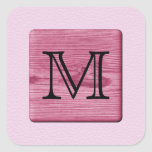 Pink Patterned Image, with Custom Monogram Letter Square Sticker