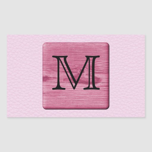 Pink Patterned Image, with Custom Monogram Letter Rectangular Stickers