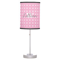Pink Patterned Personalized Baby Girl Lamp
