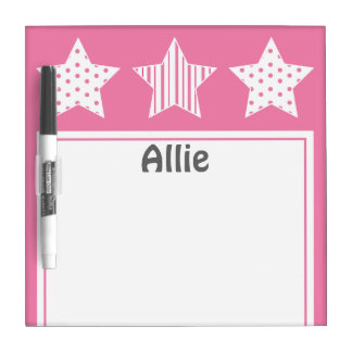 Pink Patterned Stars Dry Erase Board
