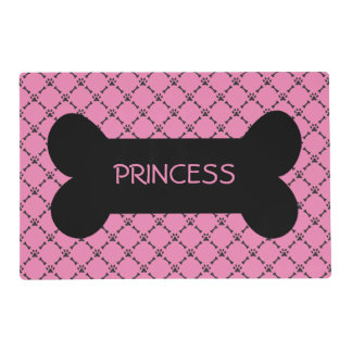 Pink Paw & Bone Design Personalized Pet Placemat