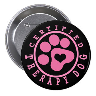 Pink Paw Certified Therapy Dog Pinback Button