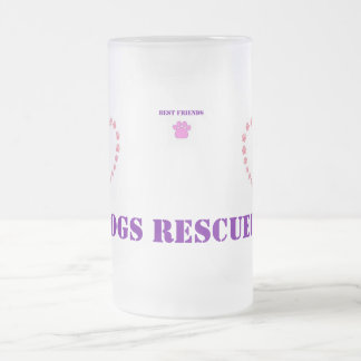 Pink Paw Heart Frosted Glass Beer Mug