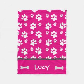 Pink Paw Print Blanket Great for Dogs Fleece Blanket