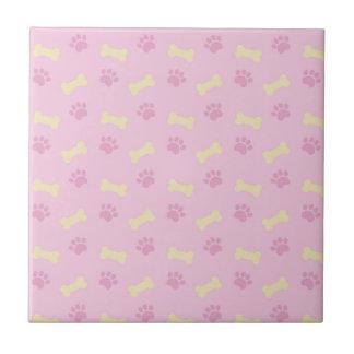 Pink Paw Print Bone Pattern Ceramic Tile